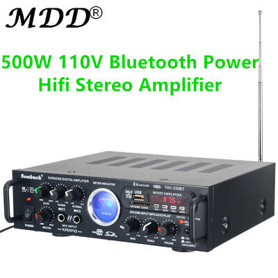 500W 110V Bluetooth Power HiFi Stereo Amplifier Home Karaoke VU Meter FM USB
