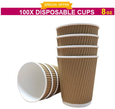 100X 8oz DISPOSABLE CUP BROWN PAPER RIPPLE CUPS PARTY COFFEE TEA SHOP TAKEAWAY