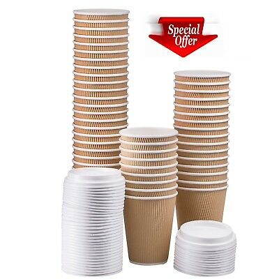 Disposable Ripple triple walled Paper Coffee Brown Cups - FREE DELIVERY !!