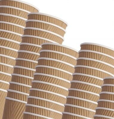 Disposable Ripple Kraft Triple walled Paper Coffee Brown Cups - FREE DELIVERY!!