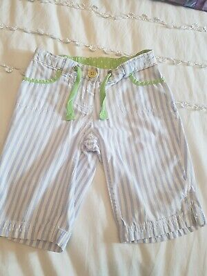 Girls Mini Boden Striped Shorts blue Aged 4 Years
