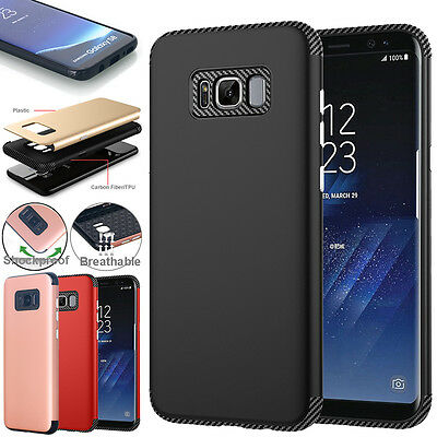 For Samsung Galaxy S8 Plus Hybrid Slim Carbon Fiber Shockproof Armor Case Cover