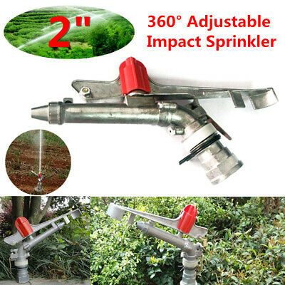 "2"" inch 360° Adjustable Impact Sprinkler Large Area Water Irrigation Spray Lawn"