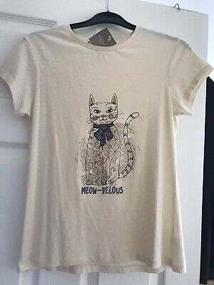 Brand new girls NEXT t-shirt top cream with sparkly cat Age 11 BNWT