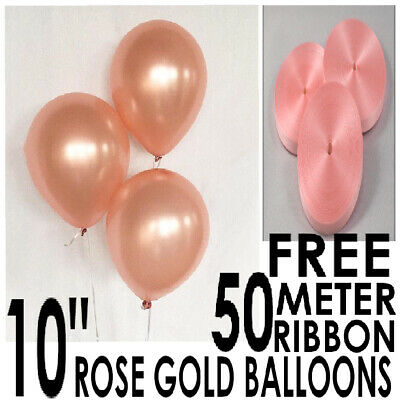 100 X Latex Rose Gold 10 Inch Size Helium Air Balloons With 50 Meter Free Ribbon