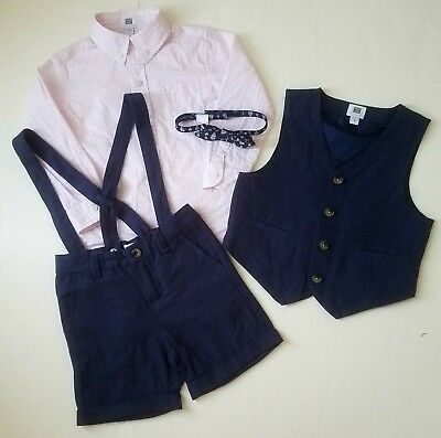 Janie & Jack Special Occasion Toddler Boy Set, Dapper in Navy, 2 3 Bow Tie