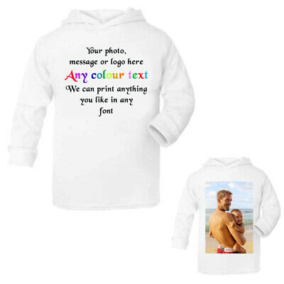Custom baby toddler hoodie for boys & girls personalised with any photo message