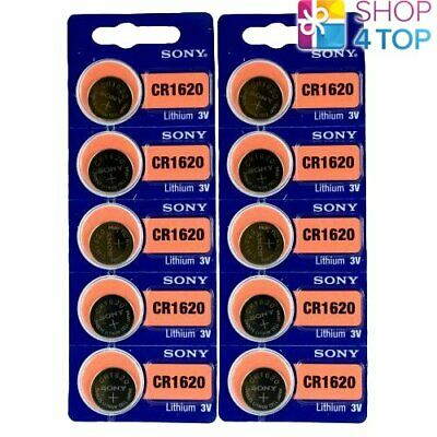 10 Sony Cr1620 Lithium Batteries 3V 80 Mah Cell Coin Button Exp 2028 New