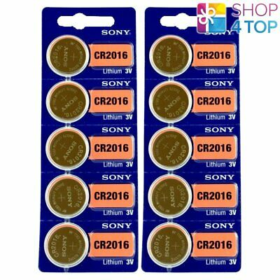10 Sony Cr2016 Lithium Batteries 3V 90 Mah Cell Coin Button Exp 2028 New
