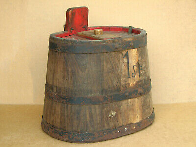 Old Antique Primitive Wooden Wood Barrel Keg Vessel Pail Marked Farm Early 20th