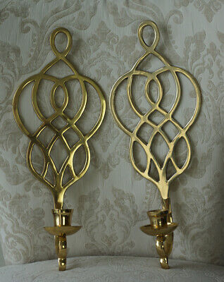 Set of 2 - Vintage Brass Metal Wall Sconce Taper Candle Holders, Made in India