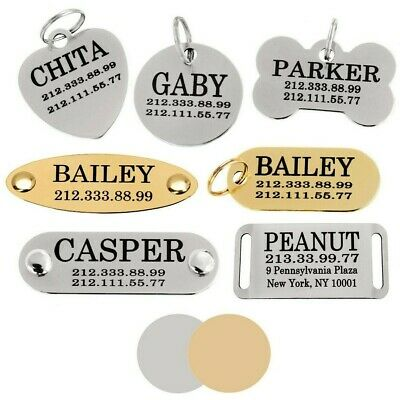 Pet ID Name Personalised Dog Tag Custom Engraved Cat Tags Stainless Steel S M L