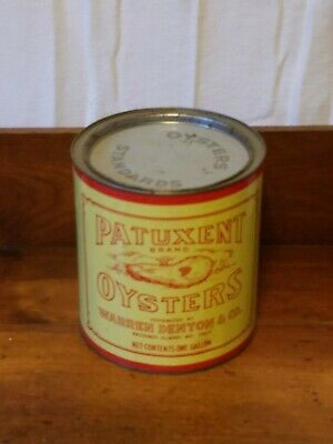 Vintage 1 Gallon Patuxent Oyster Tin/Can Md-96