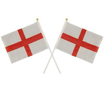 """St George Cross Small Hand Waving Flags 6"""" x 4"""" England Rugby Sports Table Desk"""