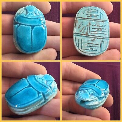 Rare ancient Egyptian blue glazed large scarab beetle with hieroglyphic , 300 bc