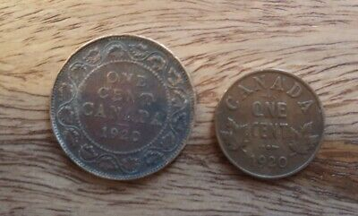 1920 Canada 1 Cent Both Large and Small Copper Coin Set in Circulated Condition