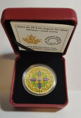 2014 Canada Stained Glass-Casa Loma $20 Silver Coin