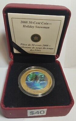 2008 Canada Holiday Snowman 50 Cent Coin