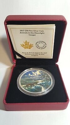 2017 Canada Glow in the Dark, Animals In The Moonlight Cougar $30 Silver Coin