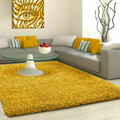 5cm HIGH PILE SMALL PREMIUM LARGE  QUALITY SHAGGY RUG OCHRE YELLOW MUSTARD GOLD
