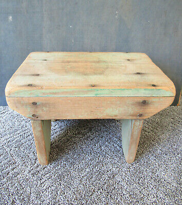 Sensational Antique Foot Stool 15 Pine Wood Primitive Vtg Footstool Squirreltailoven Fun Painted Chair Ideas Images Squirreltailovenorg