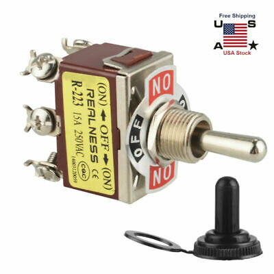ON ON TOGGLE SWITCH MOMENTARY DPDT 6P C//O SCREW w//BOOT CVR#661851//665001 -OFF-