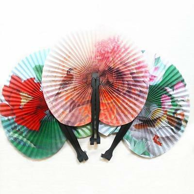 2pc Chinese Paper Folding Hand Fan Oriental Floral Party Wedding Favors-Gift