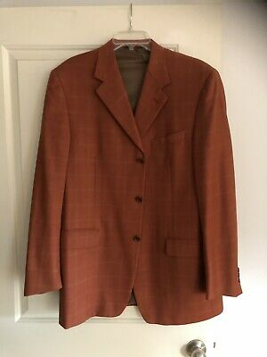 Men's Canali Proposta 100% Wool 3-Button Sport Coat Blazer Orange 42R