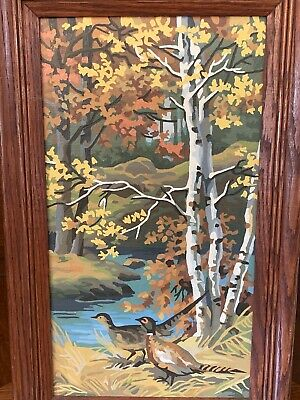"""Vintage Paint-By-Number Pheasants, Woods, TREE Wooden Framed 21"""" X 13"""""""