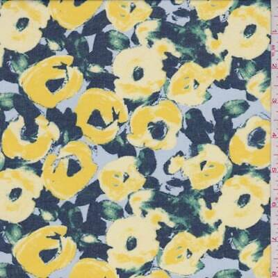 Golden Rod Abstract Floral Chiffon, Fabric By The Yard
