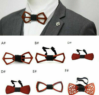 Wooden Bow Tie Accessory Wedding Party Bamboo Wood Bowtie Neck Wear Supply S8Z3