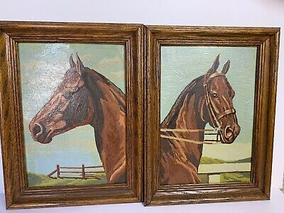 Vintage Horse Paint By Number Set Lot of 2 Completed Framed Pictures