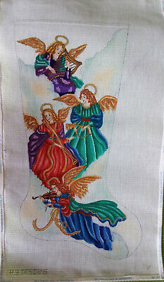 Musical Angels Hand Painted Stocking Needlepoint Canvas Violin Lyre French Horn