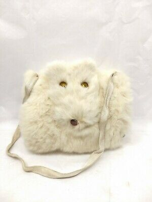 Vintage White Fur Child Hand Warmer Muff w/ Bear Face