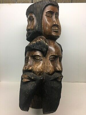 "Unusual Wood Carved 7 Heads Faces Totem Statue Large 21"" Rustic Primitive"