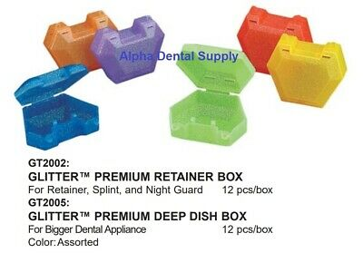 Plasdent Dental Glitter Retainer Boxes / Deep Dish Boxes Assorted Colors Box/12