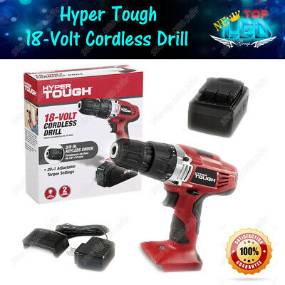 Hyper Tough 18 Volt Ni-Cad Cordless Rechargeable Drill with LED Work Light