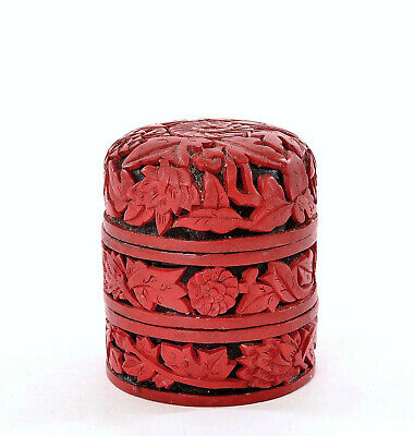 Chinese 2 Tone Cinnabar Lacquer Carved Carving Enamel Stack Box Chrysanthemum