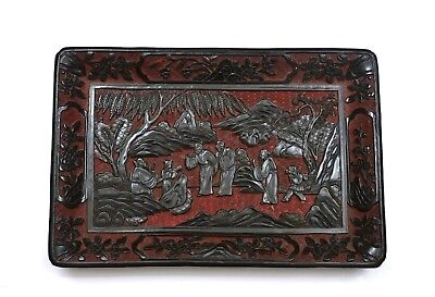 19C Chinese Cinnabar Lacquer 2 Tone Deep Carved Tray Plate Platter Scholar 37CM
