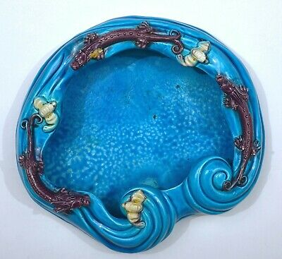 Chinese Turquoise Crackle Glaze Sancai Porcelain Scholar Brush Washer Dragon