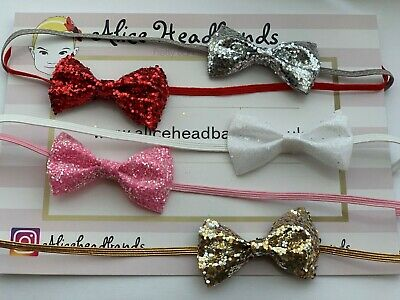Small Glitter Bow 4cm Baby Headbands Skinny Elastic Christmas Newborn Tiny + Lot