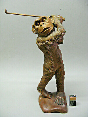 "VINTAGE CARVED FIGURE OF MONKEY GOLFER approx 14"" tall"