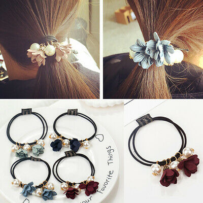 Women Big Pearl Flower Hair Rope Ties Scrunchies Elastic Rubber Hair Band Ring