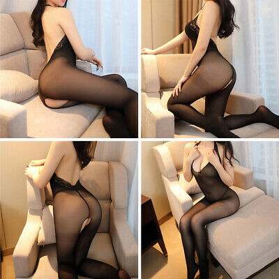 Ladies Sexy Lingerie Lace Mesh Body Stockings Crotchless Nitghtwear Sleepwear