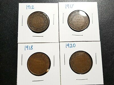 Lot Of 4 Canada Large One Cent Coins 1920 , 1918 , 1917 , 1912 Not Graded