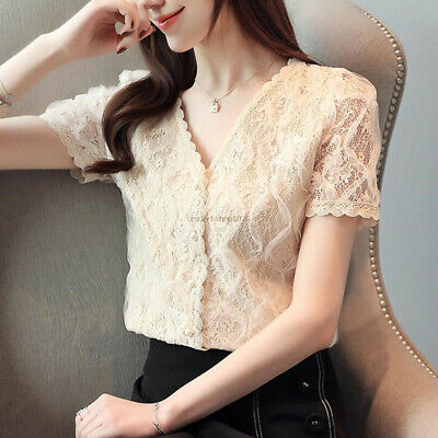 Fashion Women Summer Short Sleeve Lace Crochet V Neck Casual Shirts Blouses Tops