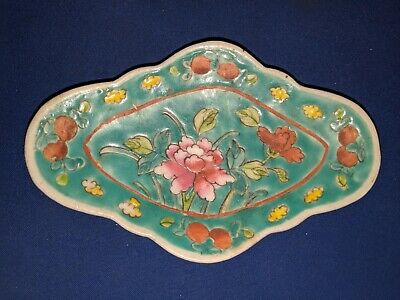Old Chinese Porcelain hand painted floral Turquoise plate Dish, 19th C ANTIQUE