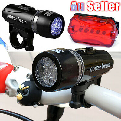 Head Light Alarm White Bicycle Set Cycle 5 LED Beam Lamp Tail Lights Bike Safety