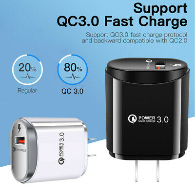 QC 3.0 Fast Quick Charge USB Port Charger 5V-2.4A Power Adapter Phone Universal