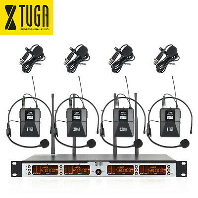 XTUGA SKM4000 PLUS UHF 4 Headset/Lapel Wireless Microphones System + carry case